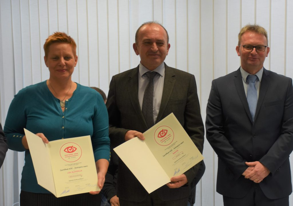 A3C Certificate Recipients (Lidl Slovenija and NAKVIS)